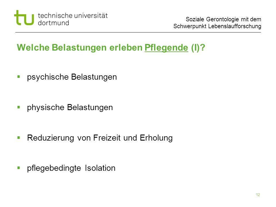 Soziale Gerontologie mit dem Schwerpunkt Lebenslaufforschung 12 Welche Belastungen erleben Pflegende (I)? psychische Belastungen physische Belastungen