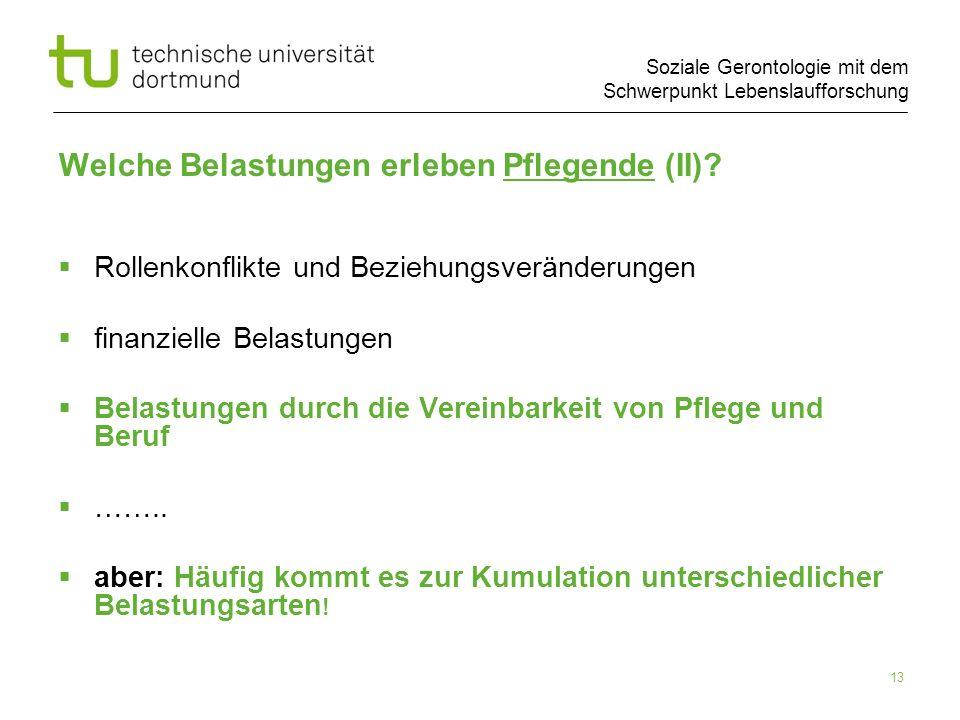 Soziale Gerontologie mit dem Schwerpunkt Lebenslaufforschung 13 Welche Belastungen erleben Pflegende (II)? Rollenkonflikte und Beziehungsveränderungen