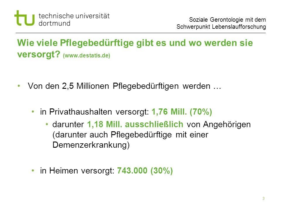 Soziale Gerontologie mit dem Schwerpunkt Lebenslaufforschung 3 Wie viele Pflegebedürftige gibt es und wo werden sie versorgt? (www.destatis.de) Von de