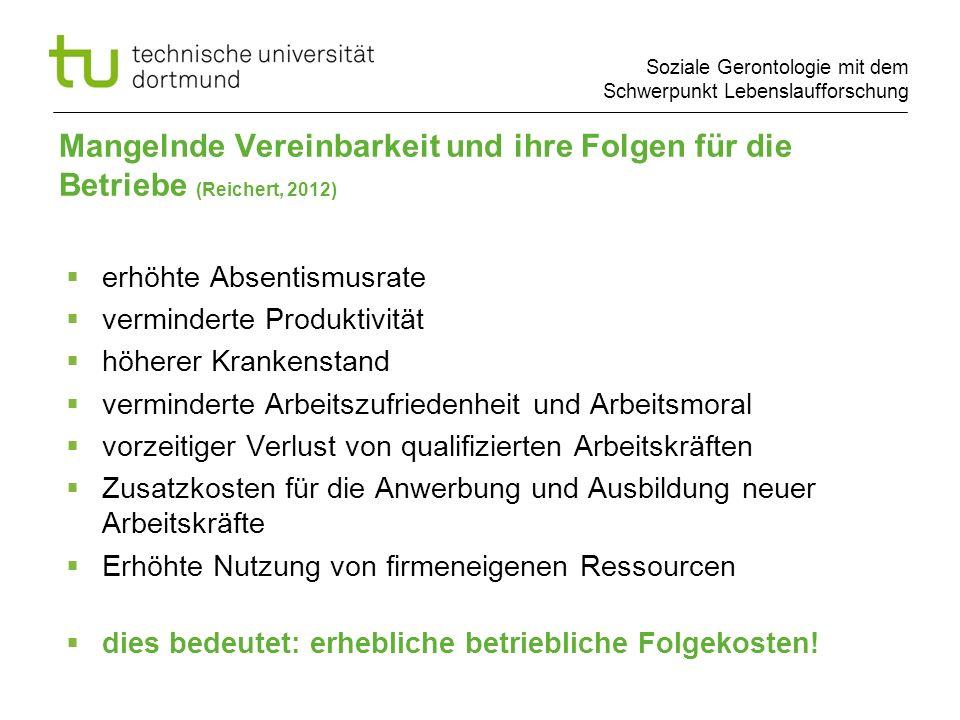 Soziale Gerontologie mit dem Schwerpunkt Lebenslaufforschung Mangelnde Vereinbarkeit und ihre Folgen für die Betriebe (Reichert, 2012) erhöhte Absenti