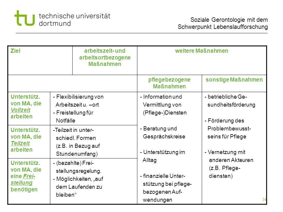 Soziale Gerontologie mit dem Schwerpunkt Lebenslaufforschung 34 Zielarbeitszeit- und arbeitsortbezogene Maßnahmen weitere Maßnahmen pflegebezogene Maß
