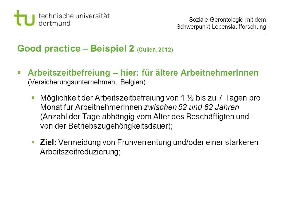 Soziale Gerontologie mit dem Schwerpunkt Lebenslaufforschung Arbeitszeitbefreiung – hier: für ältere ArbeitnehmerInnen (Versicherungsunternehmen, Belg
