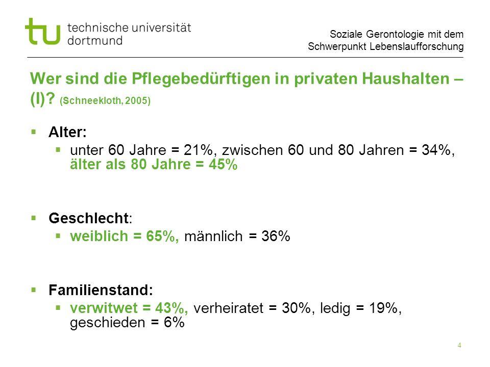 Soziale Gerontologie mit dem Schwerpunkt Lebenslaufforschung 4 Wer sind die Pflegebedürftigen in privaten Haushalten – (I)? (Schneekloth, 2005) Alter: