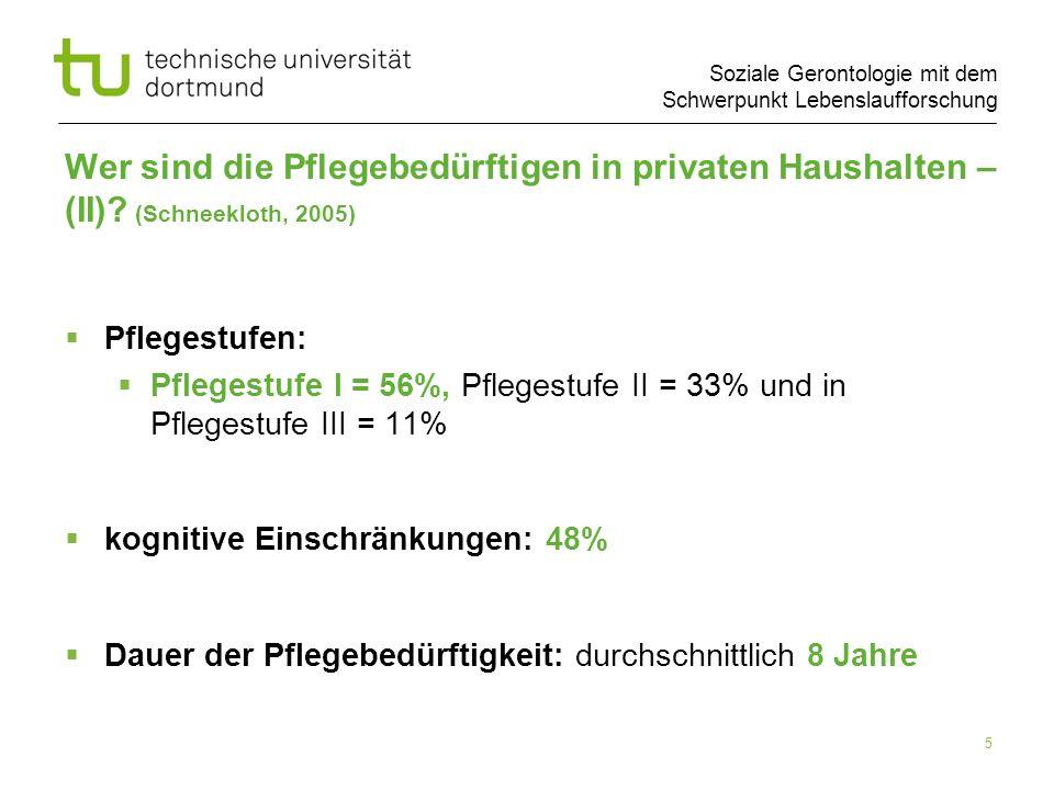 Soziale Gerontologie mit dem Schwerpunkt Lebenslaufforschung 5 Wer sind die Pflegebedürftigen in privaten Haushalten – (II)? (Schneekloth, 2005) Pfleg