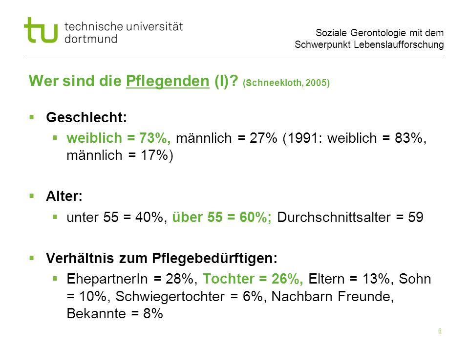 Soziale Gerontologie mit dem Schwerpunkt Lebenslaufforschung 6 Wer sind die Pflegenden (I)? (Schneekloth, 2005) Geschlecht: weiblich = 73%, männlich =