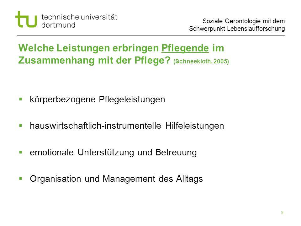 Soziale Gerontologie mit dem Schwerpunkt Lebenslaufforschung 9 Welche Leistungen erbringen Pflegende im Zusammenhang mit der Pflege? (Schneekloth, 200