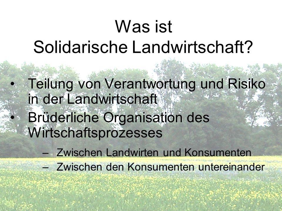 Was ist Solidarische Landwirtschaft? Teilung von Verantwortung und Risiko in der Landwirtschaft Brüderliche Organisation des Wirtschaftsprozesses –Zwi