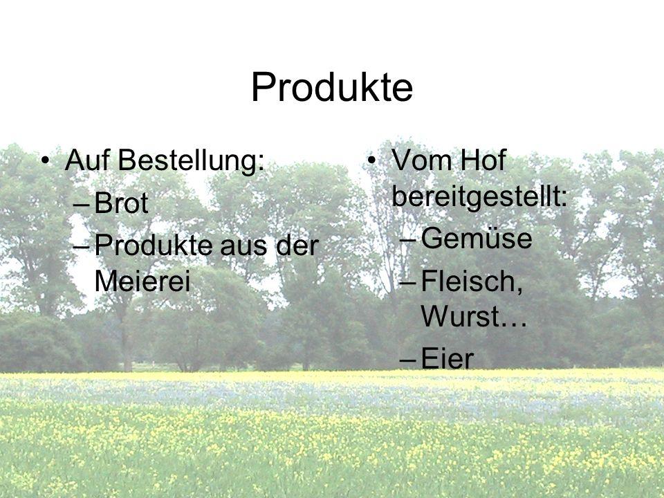 Produkte Vom Hof bereitgestellt: –Gemüse –Fleisch, Wurst… –Eier Auf Bestellung: –Brot –Produkte aus der Meierei