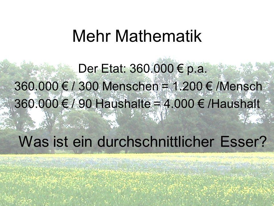 Mehr Mathematik Der Etat: 360.000 p.a. 360.000 / 300 Menschen = 1.200 /Mensch 360.000 / 90 Haushalte = 4.000 /Haushalt Was ist ein durchschnittlicher