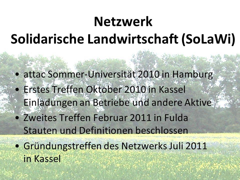 Netzwerk Solidarische Landwirtschaft (SoLaWi) attac Sommer-Universität 2010 in Hamburg Erstes Treffen Oktober 2010 in Kassel Einladungen an Betriebe u