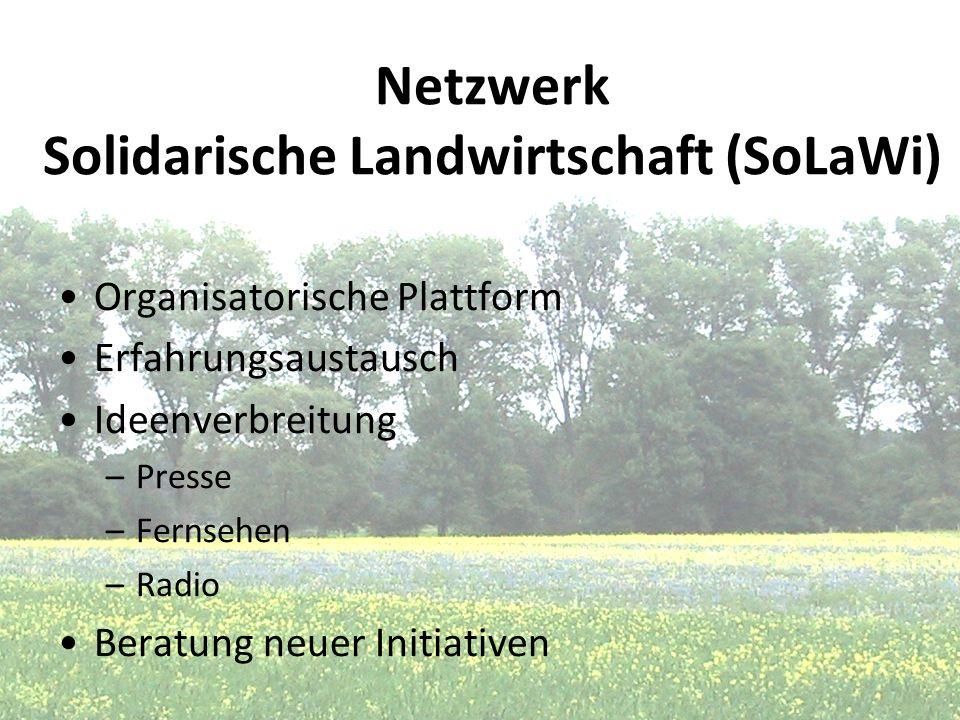 Netzwerk Solidarische Landwirtschaft (SoLaWi) Organisatorische Plattform Erfahrungsaustausch Ideenverbreitung –Presse –Fernsehen –Radio Beratung neuer