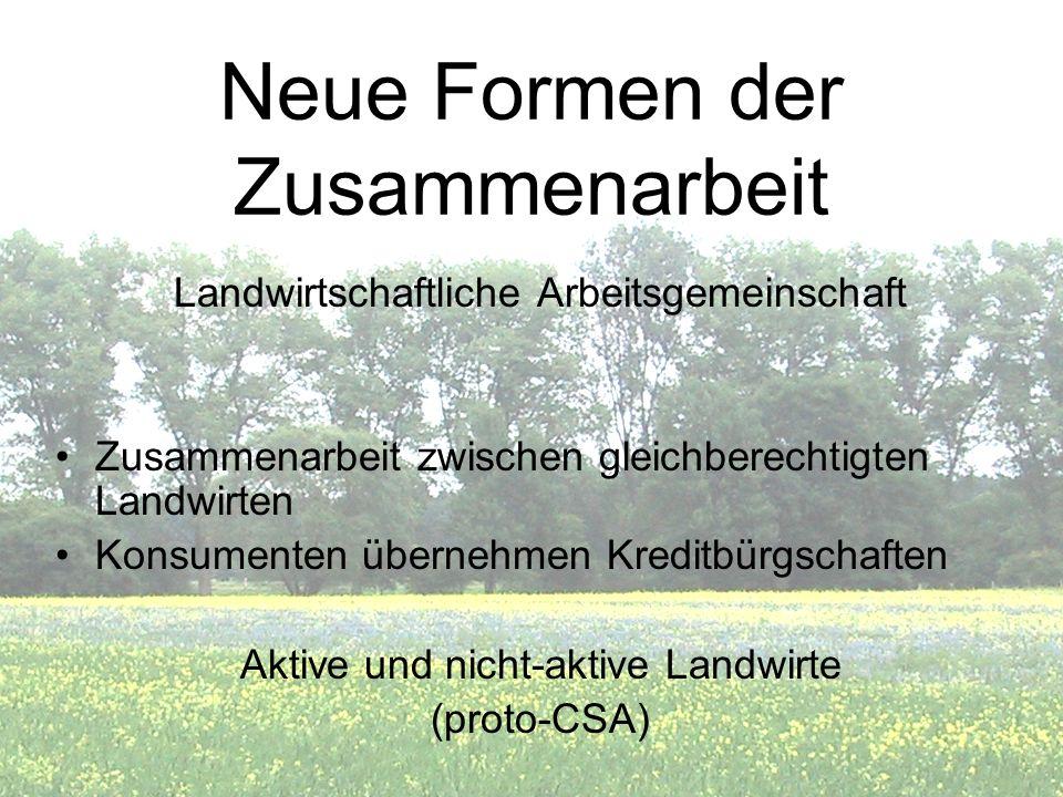 Neue Formen der Zusammenarbeit Landwirtschaftliche Arbeitsgemeinschaft Zusammenarbeit zwischen gleichberechtigten Landwirten Konsumenten übernehmen Kr