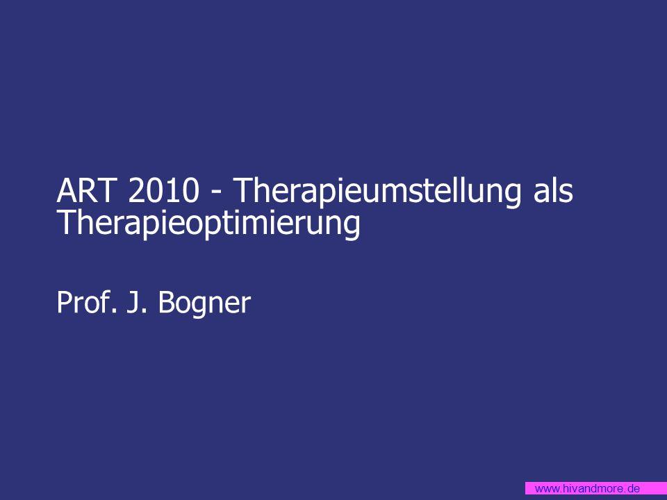 www.hivandmore.de Nebenwirkungen, die kaum anders als durch Umstellung zu beherrschen sind* (und die typischen Verursacher) Diarrhoen (auch unter Loperamid auch nach mehreren Wochen noch persistieren (am ehesten Nelfinavir, Lopinavir/r, Fosamprenavir/r) Starke Übelkeit (mit MCP – Versuch nicht beherrschbar), mit Folge der Gewichtsabnahme (AZT, DDI) Polyneuropathie (D4T, DDI, AZT) Deutliche oder transfusionspflichtige Anämie (AZT) Muskelschwäche, Myopathie (auch ohne CK- Erhöhung) (AZT, D4T, DDI) Pankreatitis (DDI, DDI+TDF, D4T+DDI, im Prinzip alle NRTI) Symptomatische Hyperlaktatämie ohne andere Ursachen, bis hin zur Laktatazidose (D4T, D4T+DDI, AZT, alle anderen NRTIs) Allergien mit Schleimhautbeteiligung und/oder Fieber (ABC, NNRTIs, Fosamprenavir, Darunavir) Niereninsuffizienz (Tenofovir, Indinavir) Nephrolithiasis (Indinavir) Hepatotoxizität mit Transaminasen > 100 U/l (Nevirapin, Tipranavir) Ikterus, ggf.