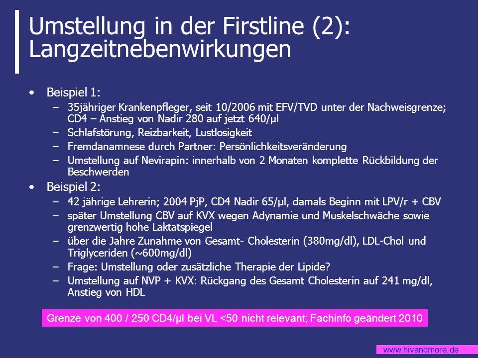 www.hivandmore.de Umstellung in der Firstline (2): Langzeitnebenwirkungen Beispiel 1: –35jähriger Krankenpfleger, seit 10/2006 mit EFV/TVD unter der N