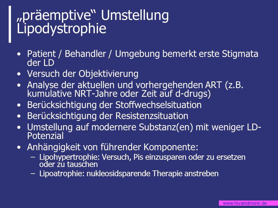 www.hivandmore.de präemptive Umstellung Lipodystrophie Patient / Behandler / Umgebung bemerkt erste Stigmata der LD Versuch der Objektivierung Analyse