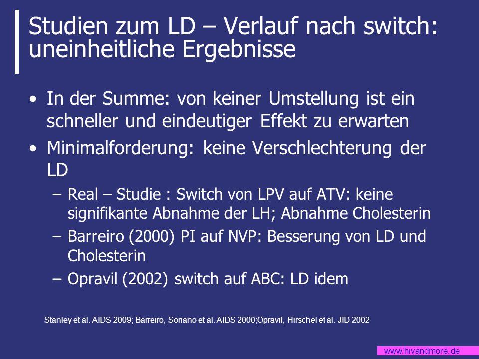 www.hivandmore.de Studien zum LD – Verlauf nach switch: uneinheitliche Ergebnisse In der Summe: von keiner Umstellung ist ein schneller und eindeutige