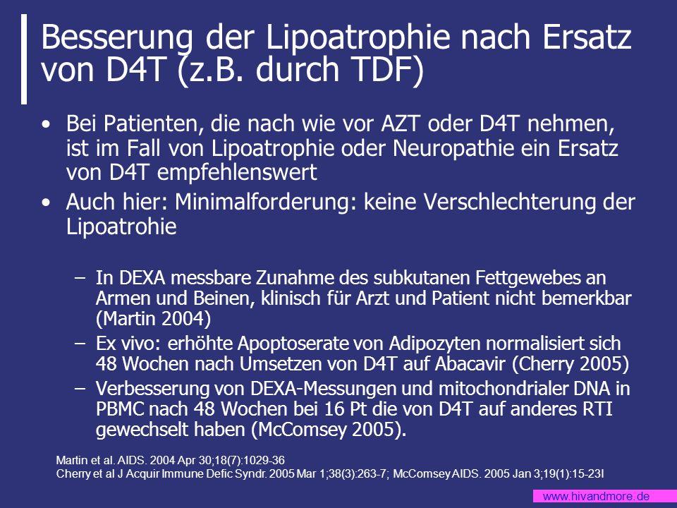 www.hivandmore.de Besserung der Lipoatrophie nach Ersatz von D4T (z.B. durch TDF) Bei Patienten, die nach wie vor AZT oder D4T nehmen, ist im Fall von