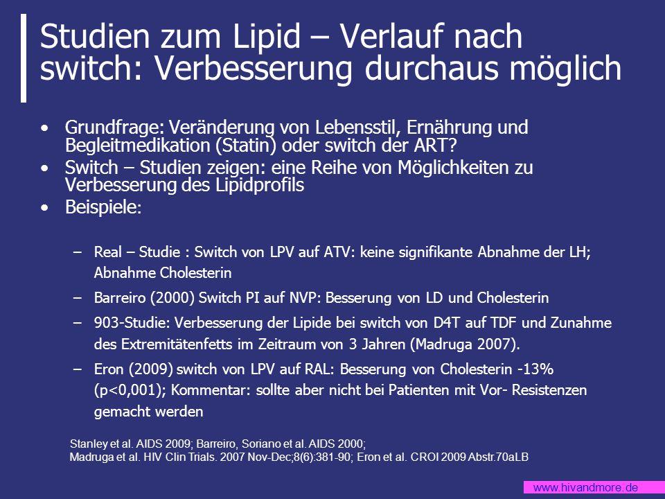 www.hivandmore.de Studien zum Lipid – Verlauf nach switch: Verbesserung durchaus möglich Grundfrage: Veränderung von Lebensstil, Ernährung und Begleit