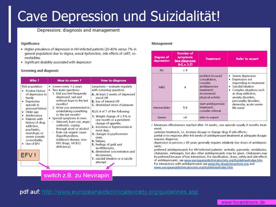 www.hivandmore.de Cave Depression und Suizidalität! pdf auf: http://www.europeanaidsclinicalsociety.org/guidelines.asphttp://www.europeanaidsclinicals