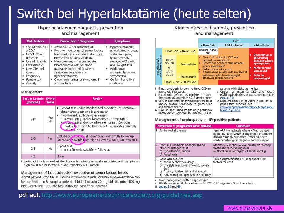 www.hivandmore.de Switch bei Hyperlaktatämie (heute selten) pdf auf: http://www.europeanaidsclinicalsociety.org/guidelines.asphttp://www.europeanaidsc