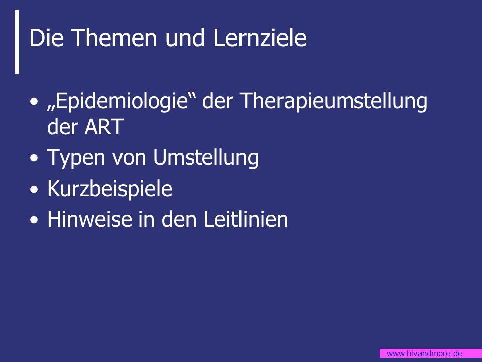 www.hivandmore.de Die Themen und Lernziele Epidemiologie der Therapieumstellung der ART Typen von Umstellung Kurzbeispiele Hinweise in den Leitlinien