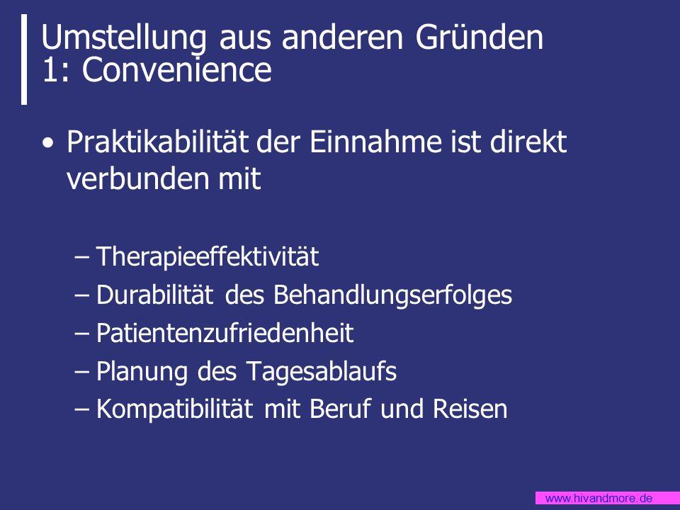 www.hivandmore.de Umstellung aus anderen Gründen 1: Convenience Praktikabilität der Einnahme ist direkt verbunden mit –Therapieeffektivität –Durabilit
