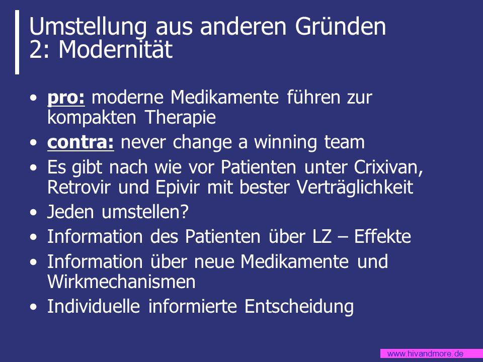 www.hivandmore.de Umstellung aus anderen Gründen 2: Modernität pro: moderne Medikamente führen zur kompakten Therapie contra: never change a winning t
