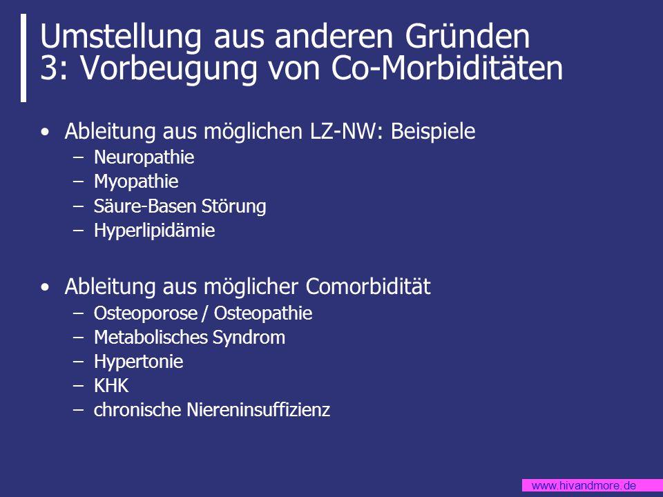 www.hivandmore.de Umstellung aus anderen Gründen 3: Vorbeugung von Co-Morbiditäten Ableitung aus möglichen LZ-NW: Beispiele –Neuropathie –Myopathie –S