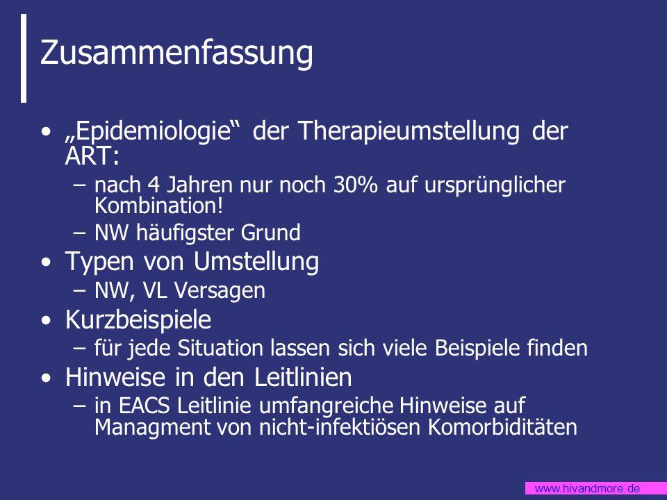 www.hivandmore.de Zusammenfassung Epidemiologie der Therapieumstellung der ART: –nach 4 Jahren nur noch 30% auf ursprünglicher Kombination! –NW häufig