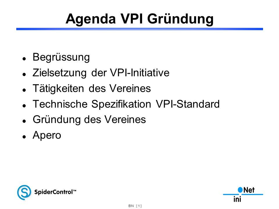 EIN [ 1 ] Agenda VPI Gründung Begrüssung Zielsetzung der VPI-Initiative Tätigkeiten des Vereines Technische Spezifikation VPI-Standard Gründung des Ve