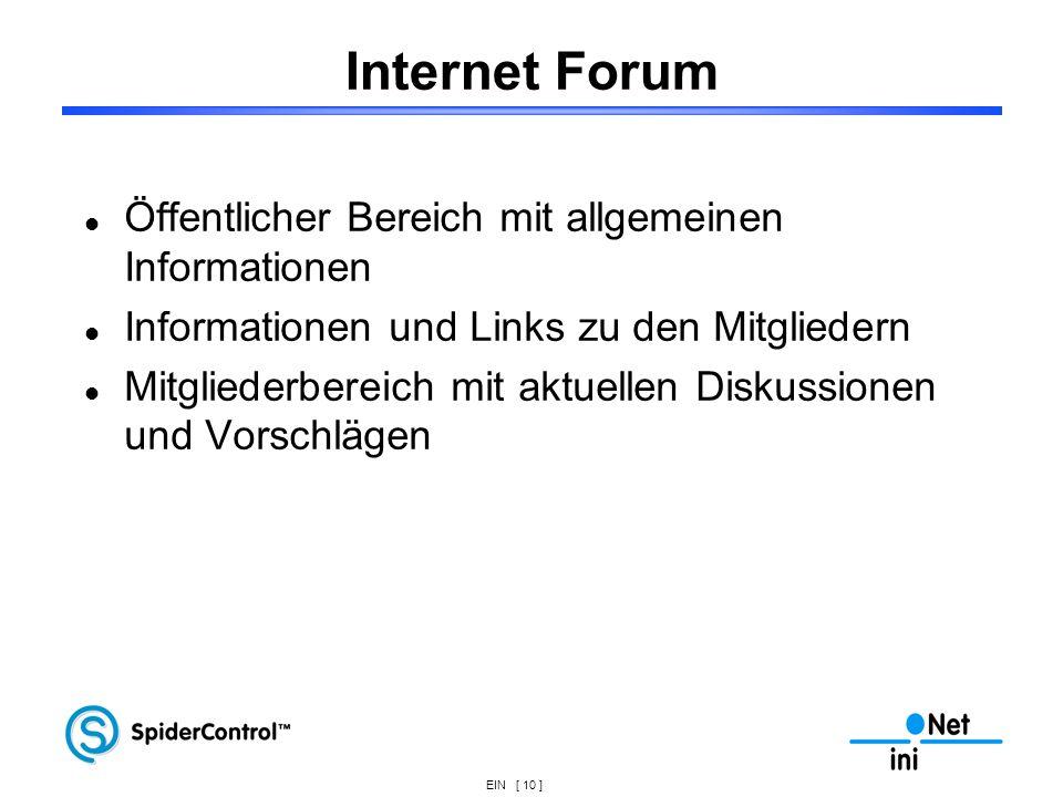 EIN [ 10 ] Internet Forum Öffentlicher Bereich mit allgemeinen Informationen Informationen und Links zu den Mitgliedern Mitgliederbereich mit aktuelle