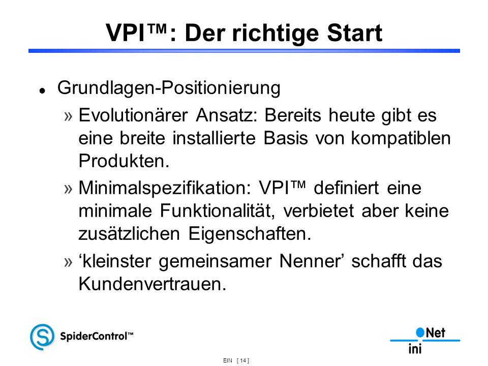 EIN [ 14 ] VPI: Der richtige Start Grundlagen-Positionierung »Evolutionärer Ansatz: Bereits heute gibt es eine breite installierte Basis von kompatibl