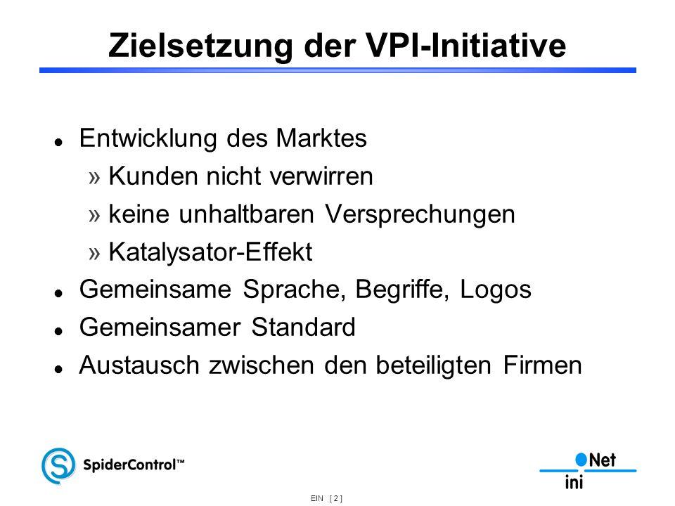 EIN [ 2 ] Zielsetzung der VPI-Initiative Entwicklung des Marktes »Kunden nicht verwirren »keine unhaltbaren Versprechungen »Katalysator-Effekt Gemeins