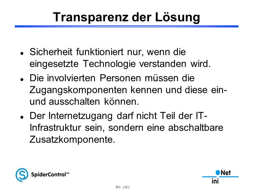 EIN [ 25 ] Transparenz der Lösung Sicherheit funktioniert nur, wenn die eingesetzte Technologie verstanden wird. Die involvierten Personen müssen die