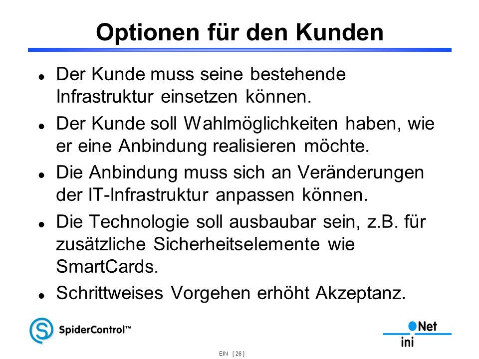EIN [ 26 ] Optionen für den Kunden Der Kunde muss seine bestehende Infrastruktur einsetzen können. Der Kunde soll Wahlmöglichkeiten haben, wie er eine