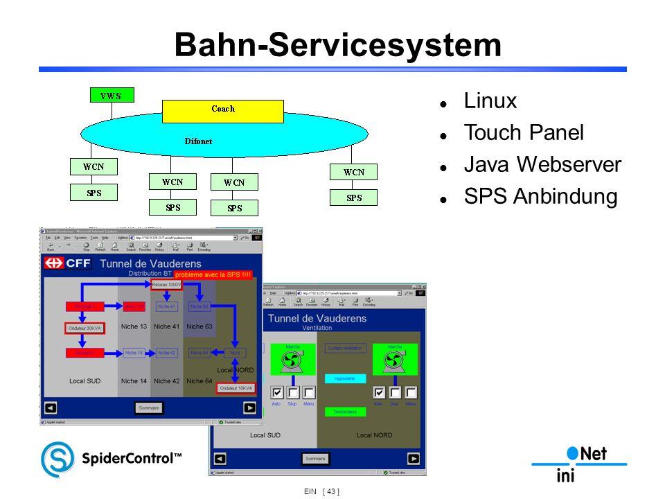 EIN [ 43 ] Bahn-Servicesystem Linux Touch Panel Java Webserver SPS Anbindung