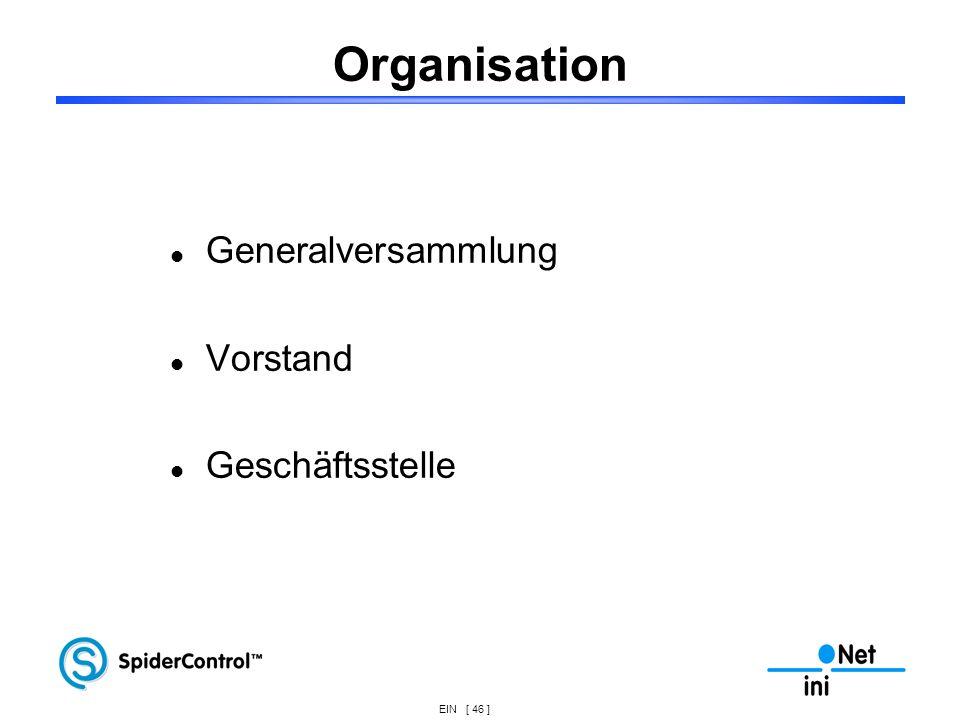 EIN [ 46 ] Organisation Generalversammlung Vorstand Geschäftsstelle