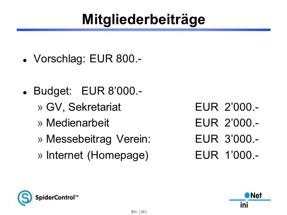 EIN [ 48 ] Mitgliederbeiträge Vorschlag: EUR 800.- Budget: EUR 8000.- »GV, Sekretariat EUR 2000.- »MedienarbeitEUR 2000.- »Messebeitrag Verein: EUR 30
