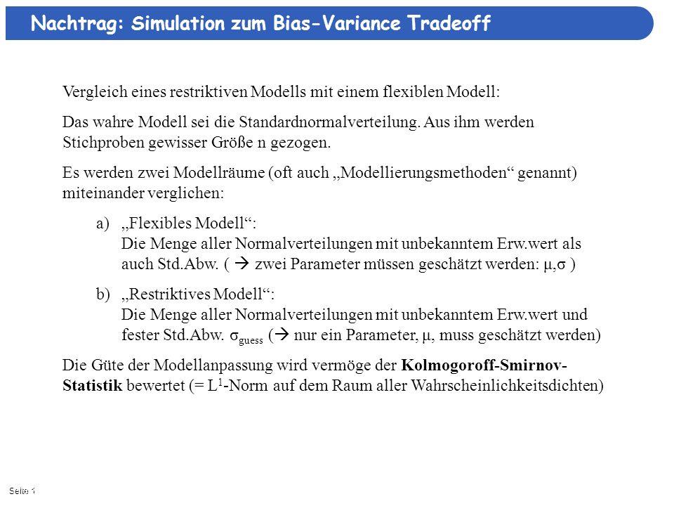 Seite 111/3/2013| Vergleich eines restriktiven Modells mit einem flexiblen Modell: Das wahre Modell sei die Standardnormalverteilung. Aus ihm werden S