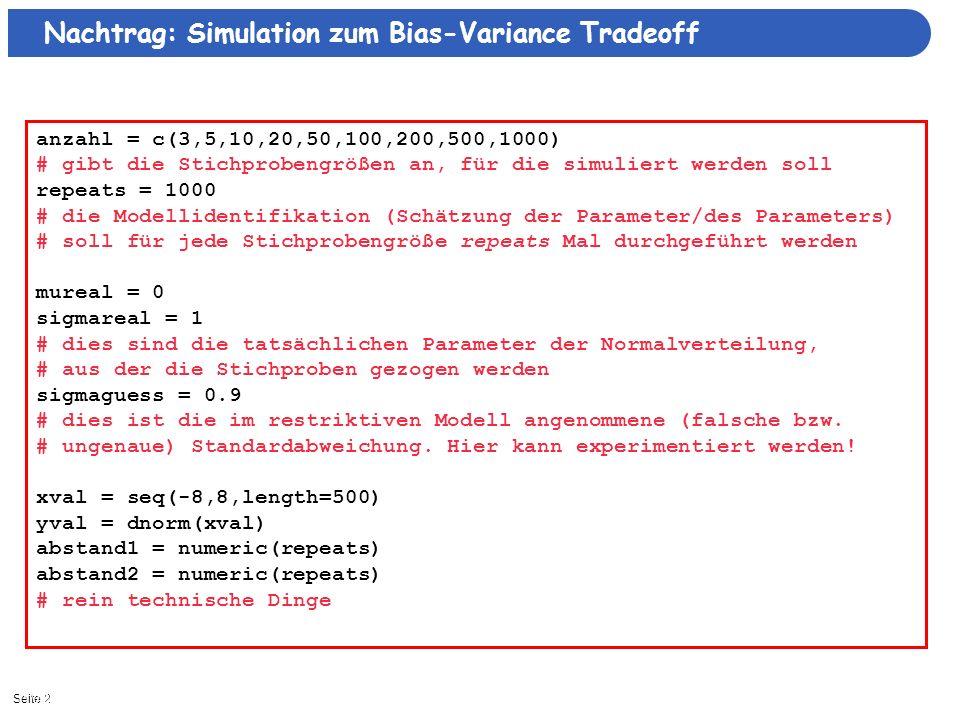 Seite 211/3/2013| Nachtrag: Simulation zum Bias-Variance Tradeoff anzahl = c(3,5,10,20,50,100,200,500,1000) # gibt die Stichprobengrößen an, für die s
