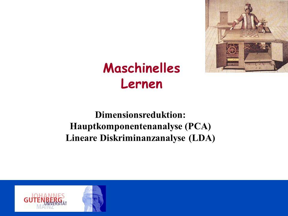 Dimensionsreduktion: Hauptkomponentenanalyse (PCA) Lineare Diskriminanzanalyse (LDA) Maschinelles Lernen
