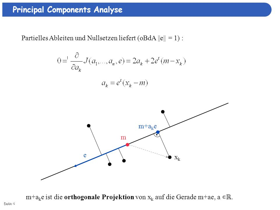 Seite 811/3/2013| Principal Components Analyse Partielles Ableiten und Nullsetzen liefert (oBdA ||e|| = 1) : m xkxk m+a k e e. m+a k e ist die orthogo