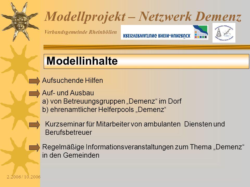 Verbandsgemeinde Rheinböllen 2.2006 / 10.2006 Modellprojekt – Netzwerk Demenz Modellinhalte Aufsuchende Hilfen Auf- und Ausbau a) von Betreuungsgruppe