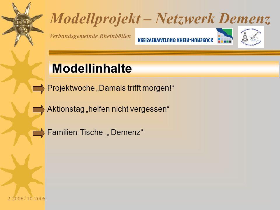 Verbandsgemeinde Rheinböllen 2.2006 / 10.2006 Modellprojekt – Netzwerk Demenz Modellinhalte Aktionstag helfen nicht vergessen Familien-Tische Demenz P