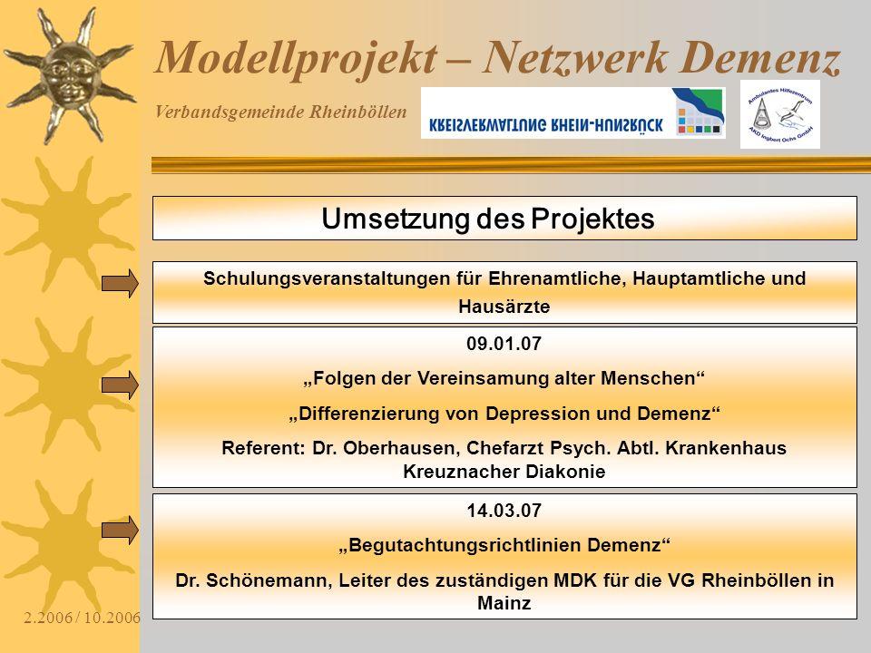 Verbandsgemeinde Rheinböllen 2.2006 / 10.2006 Modellprojekt – Netzwerk Demenz Umsetzung des Projektes Schulungsveranstaltungen für Ehrenamtliche, Haup