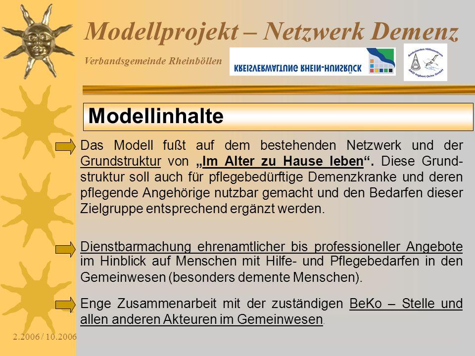 Verbandsgemeinde Rheinböllen 2.2006 / 10.2006 Modellprojekt – Netzwerk Demenz Das Modell fußt auf dem bestehenden Netzwerk und der Grundstruktur von I
