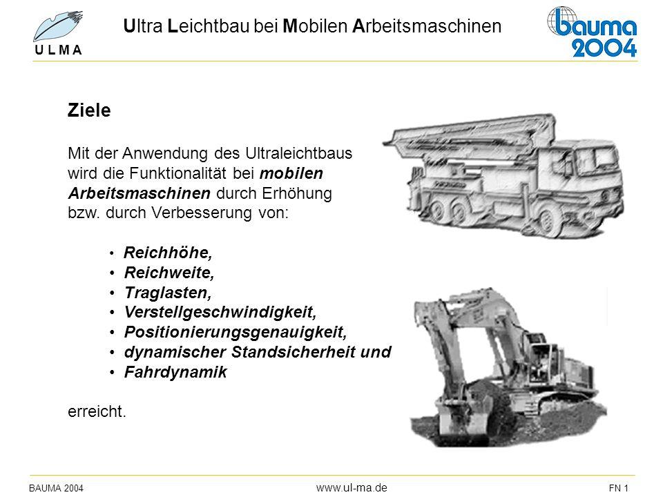 Ultra Leichtbau bei Mobilen Arbeitsmaschinen BAUMA 2004 www.ul-ma.de FN 1 U L M A Ziele Mit der Anwendung des Ultraleichtbaus wird die Funktionalität