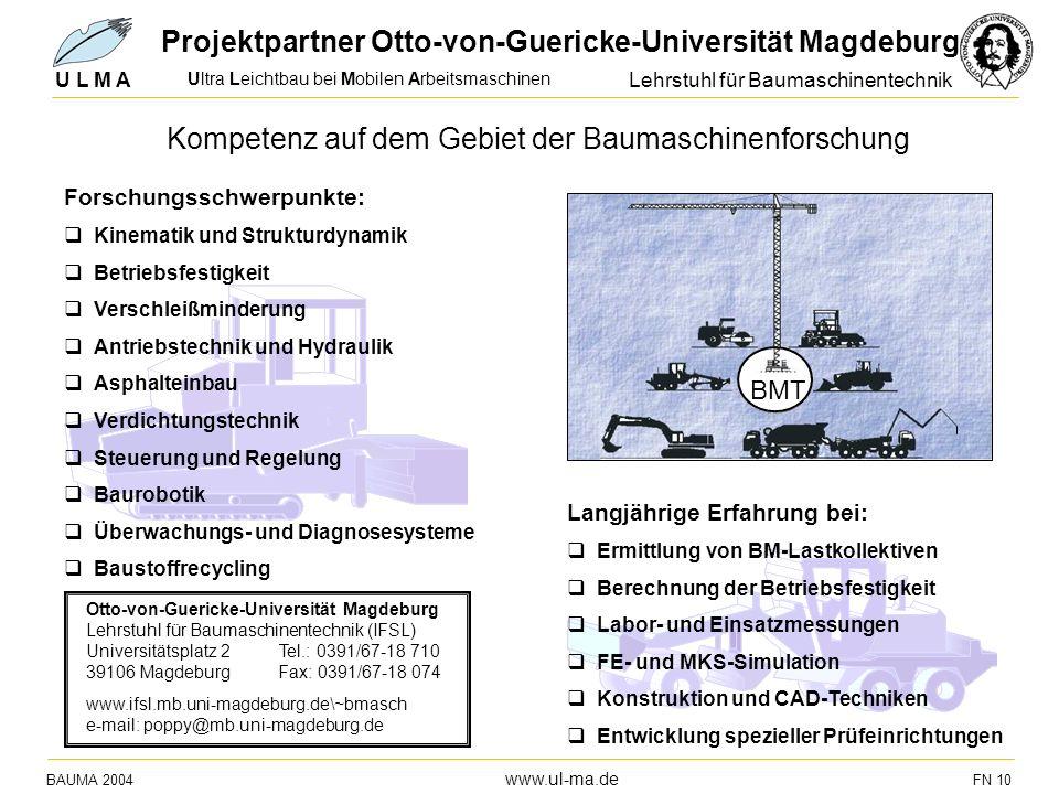 Ultra Leichtbau bei Mobilen Arbeitsmaschinen BAUMA 2004 www.ul-ma.de FN 10 U L M A Langjährige Erfahrung bei: q Ermittlung von BM-Lastkollektiven q Be