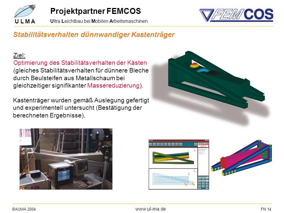 Ultra Leichtbau bei Mobilen Arbeitsmaschinen BAUMA 2004 www.ul-ma.de FN 14 U L M A Projektpartner FEMCOS Ziel: Optimierung des Stabilitätsverhalten de