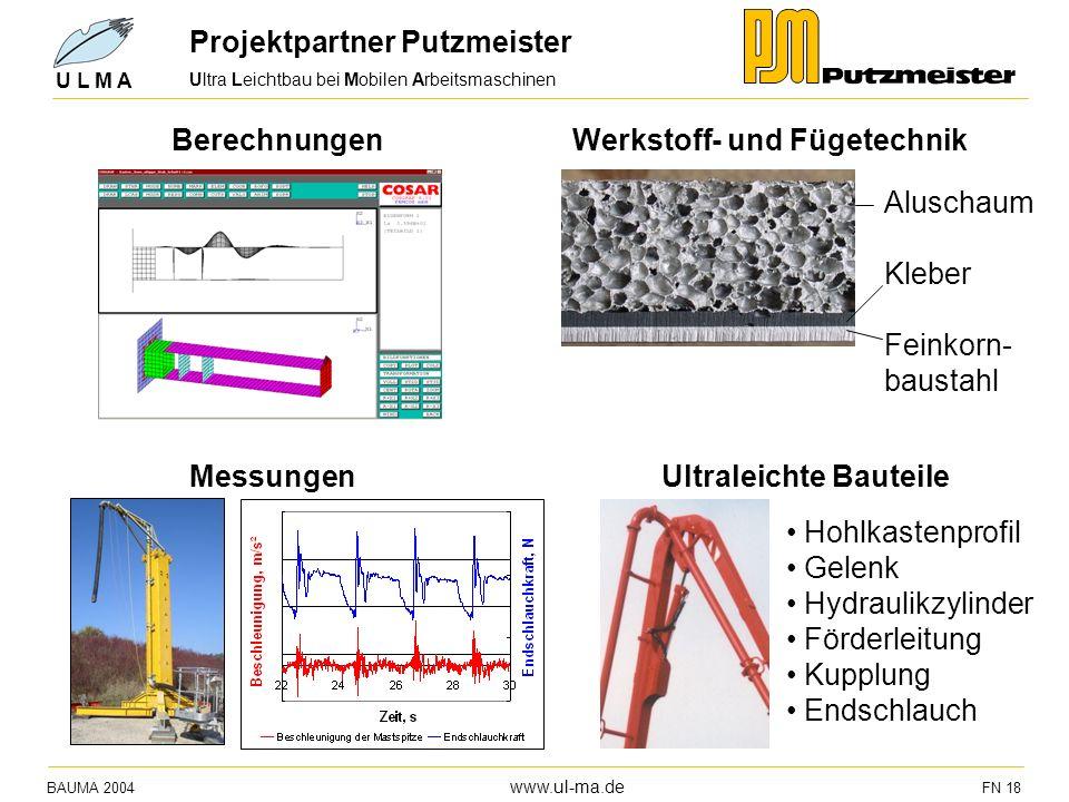 Ultra Leichtbau bei Mobilen Arbeitsmaschinen BAUMA 2004 www.ul-ma.de FN 18 U L M A Projektpartner Putzmeister Aluschaum Kleber Feinkorn- baustahl Mess